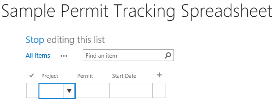 Sample Permit Tracking Sharepoint 2 - import data from Excel into SharePoint
