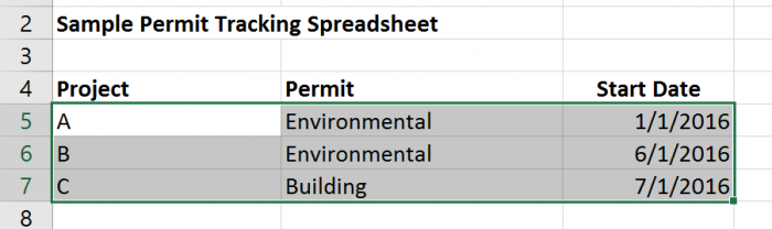 Sample Permit Tracking Sharepoint - import data from Excel into SharePoint