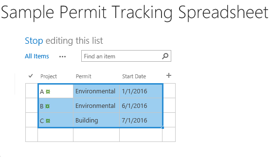 Sample Permit Tracking Sharepoint 4 - import data from Excel into SharePoint